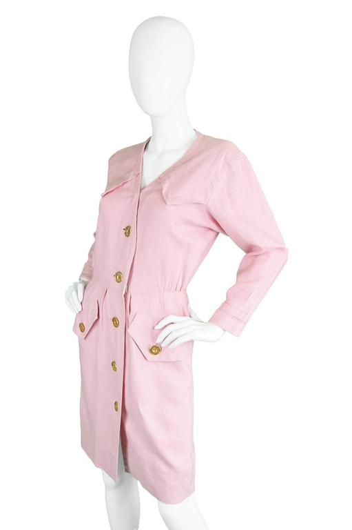1980s Vintage Yves Saint Laurent Baby Pink Linen Dress Rive Gauche In Excellent Condition For Sale In Doncaster, GB