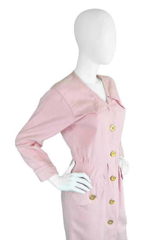Women's 1980s Vintage Yves Saint Laurent Baby Pink Linen Dress Rive Gauche For Sale