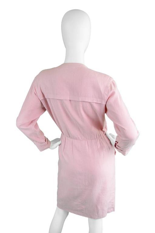 1980s Vintage Yves Saint Laurent Baby Pink Linen Dress Rive Gauche For Sale 1