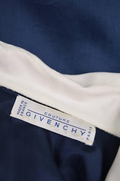 Women's Givenchy Couture Vintage A-Line Organza Dress with White Linen Collar, 1980s  For Sale