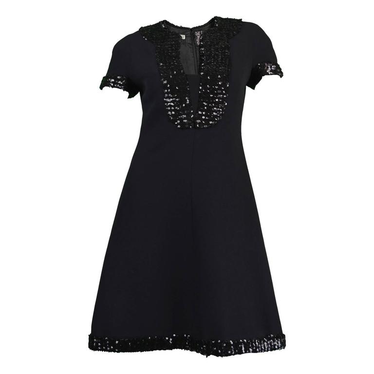 1960's Early Emanuel Ungaro Vintage Beaded Black Crepe Dress For Sale
