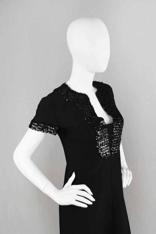 Women's 1960's Early Emanuel Ungaro Vintage Beaded Black Crepe Dress For Sale