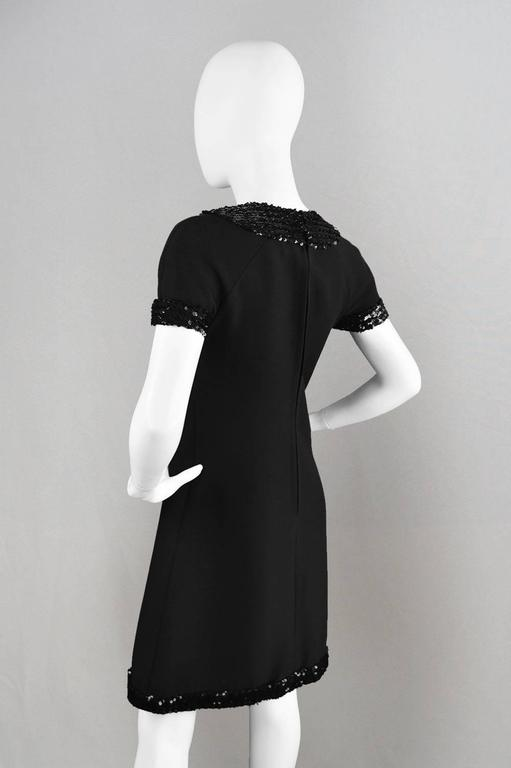 1960's Early Emanuel Ungaro Vintage Beaded Black Crepe Dress For Sale 2