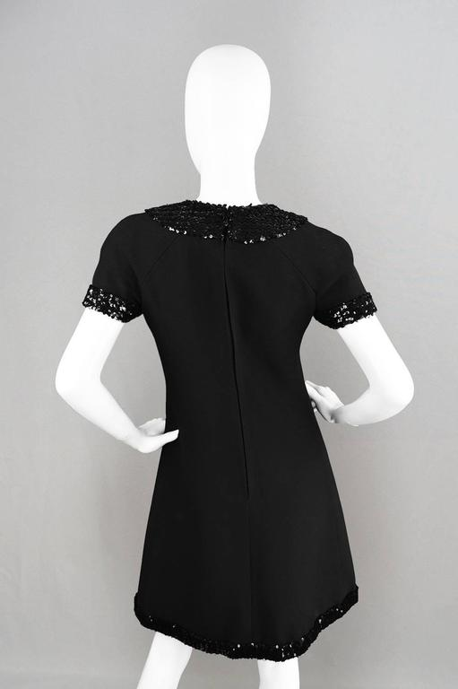1960's Early Emanuel Ungaro Vintage Beaded Black Crepe Dress For Sale 3