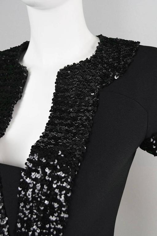 1960's Early Emanuel Ungaro Vintage Beaded Black Crepe Dress For Sale 1
