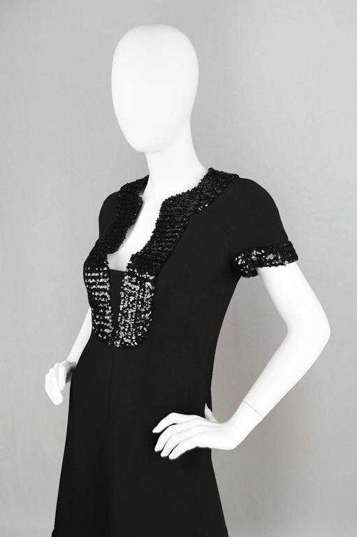 1960's Early Emanuel Ungaro Vintage Beaded Black Crepe Dress In Excellent Condition For Sale In Doncaster, South Yorkshire
