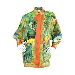 1993 Gianni Versace Couture Iconic Tarzan Print Silk Shirt