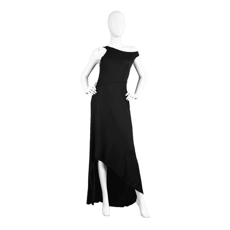 Gianni Versace Couture Slinky Black Asymmetrical Evening Gown, 1990s ...