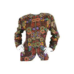 1980s Naeem Khan Heavily Beaded & Embroidered Vintage Silk Trophy Jacket