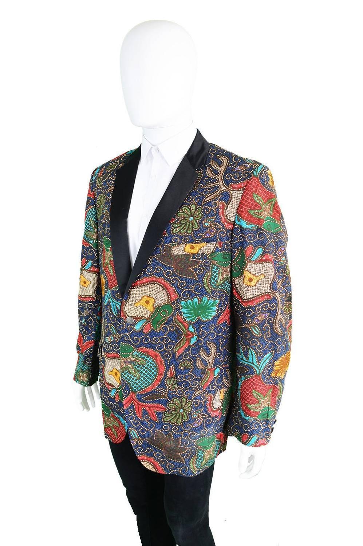 1960s neiman mens vintage wax print blazer jacket