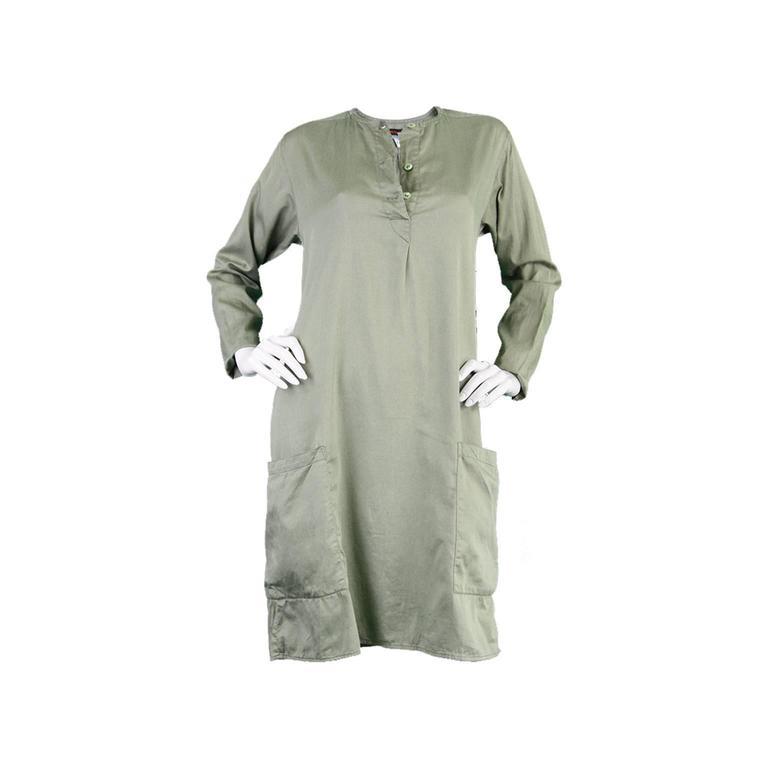 Kenzo Jap 1970s Vintage Minimalist Cotton Shift Dress with Oversized Pockets
