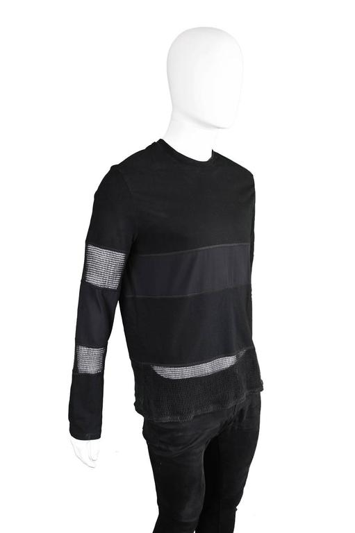 Jean Paul Gaultier Vintage 1990s Mens Black Long Sleeve T Shirt with Mesh Panels In Excellent Condition In Doncaster, South Yorkshire