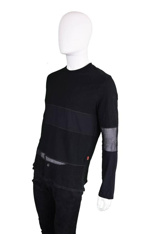 Women's or Men's Jean Paul Gaultier Vintage 1990s Mens Black Long Sleeve T Shirt with Mesh Panels