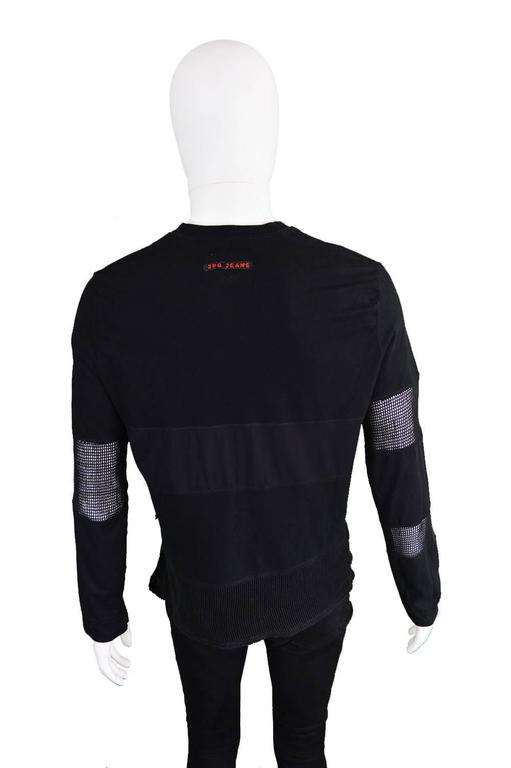 Jean Paul Gaultier Vintage 1990s Mens Black Long Sleeve T Shirt with Mesh Panels 1