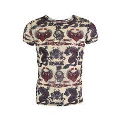 Jean Paul Gaultier 1990s Vintage Mens Unisex Mesh Dragon Tattoo Shirt
