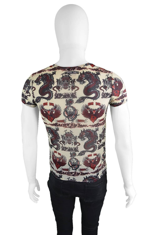 Jean paul gaultier 1990s vintage mens unisex mesh dragon for Mesh tattoo shirt