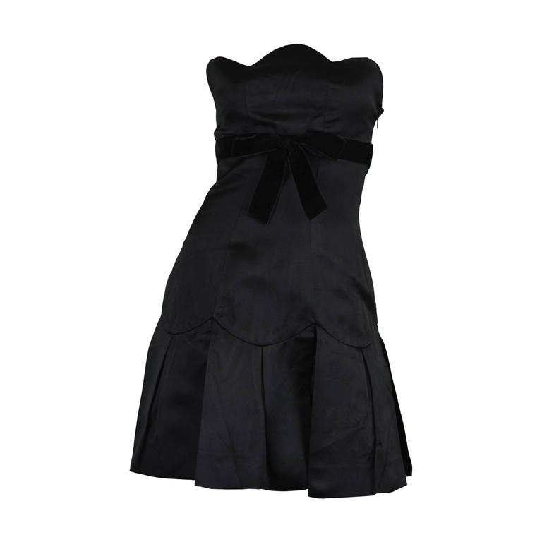 Chanel Strapless Silk Little Black Dress With Scalloped Bust Aw