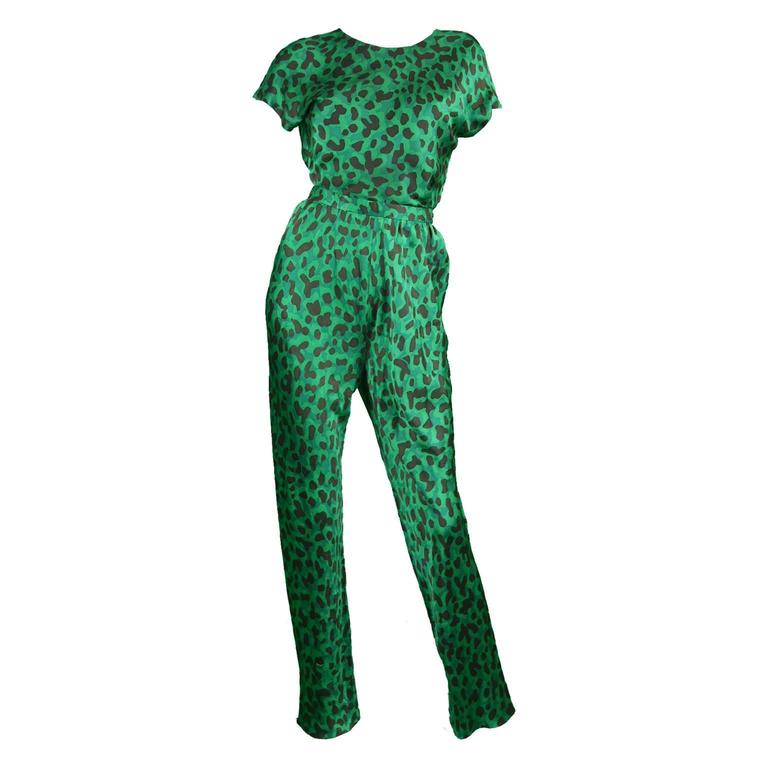 Céline Paris 1990s Green & Black Pure Silk Two Piece Pant Suit