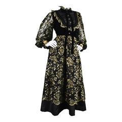 Emanuel Ungaro Boutique 1980s Black & Gold Lace, Velvet & Taffeta Dress