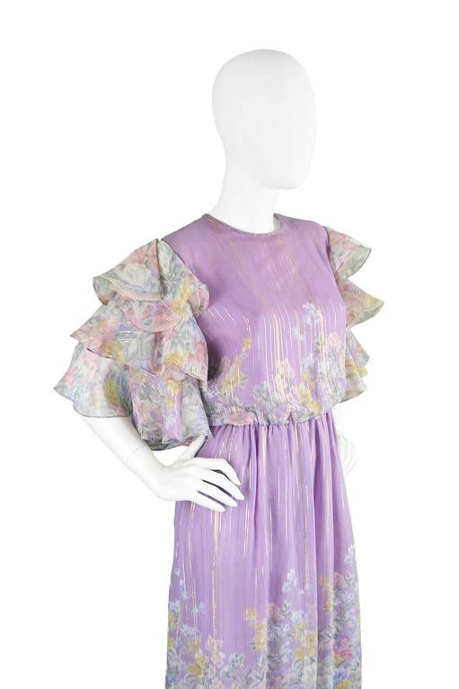 Women's Hanae Mori Purple and Pastel Floral Printed Ruffle Sleeve Maxi Dress, 1980s  For Sale