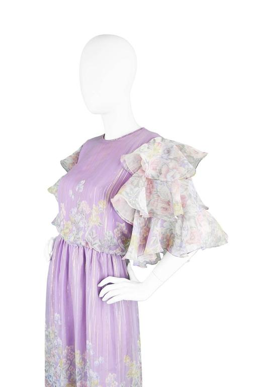 Gray Hanae Mori Purple and Pastel Floral Printed Ruffle Sleeve Maxi Dress, 1980s  For Sale
