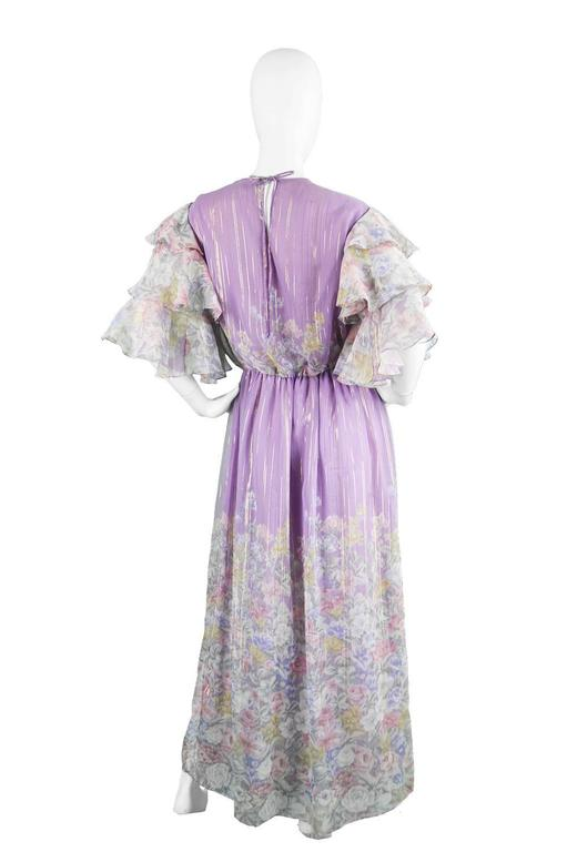 Hanae Mori Purple and Pastel Floral Printed Ruffle Sleeve Maxi Dress, 1980s  For Sale 1
