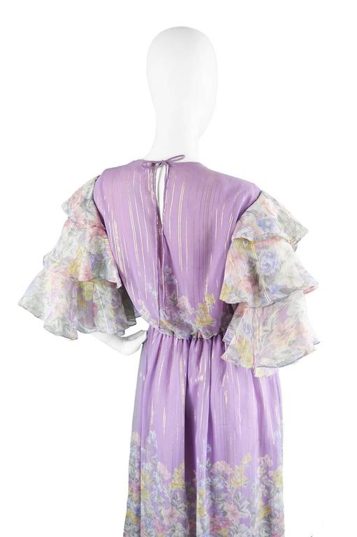 Hanae Mori Purple and Pastel Floral Printed Ruffle Sleeve Maxi Dress, 1980s  For Sale 2