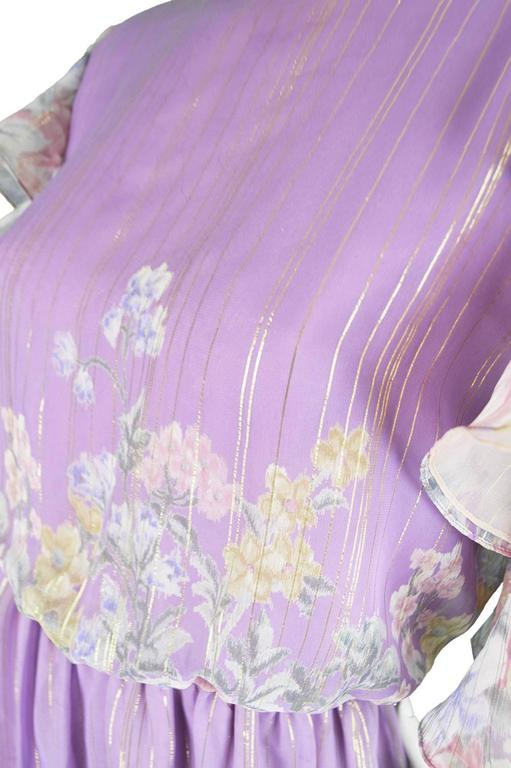 Hanae Mori Purple and Pastel Floral Printed Ruffle Sleeve Maxi Dress, 1980s  In Excellent Condition For Sale In Doncaster, South Yorkshire