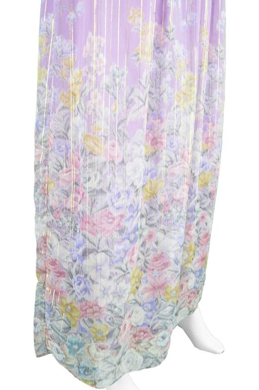 Hanae Mori Purple and Pastel Floral Printed Ruffle Sleeve Maxi Dress, 1980s  For Sale 3