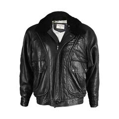 Valentino Uomo Men's Leather Aviator Jacket with Shearling Collar, 1980s