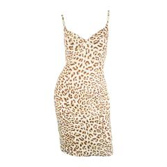 Vintage Escada Leopard Print Party Dress with Sculpted Bust, 1980s