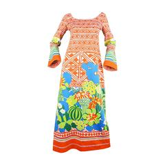 Lanvin Boutique Orange Tropical Cactus Printed Maxi Dress, S/S 1973