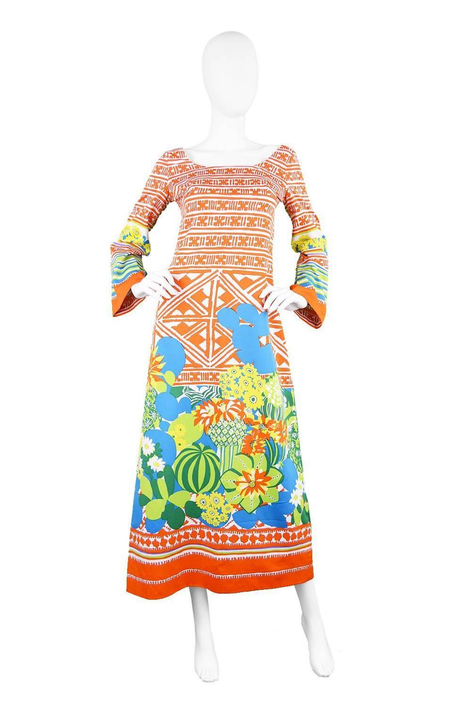 Lanvin Boutique Orange Tropical Cactus Printed Maxi Dress ...
