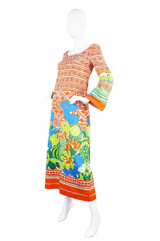 Lanvin Boutique Orange Tropical Cactus Printed Maxi Dress, S/S 1973 3