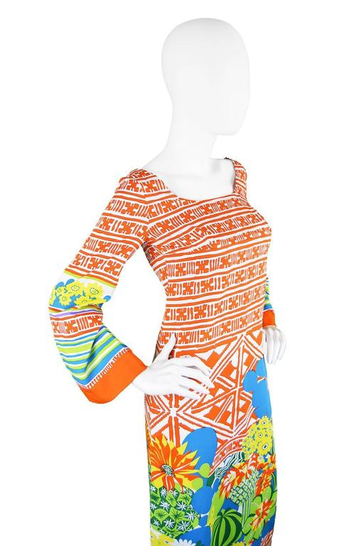 Lanvin Boutique Orange Tropical Cactus Printed Maxi Dress, S/S 1973 4