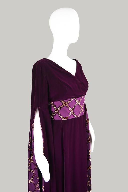 Troubadour Renaissance Inspired Velvet & Brocade Evening Gown, c. 1970 4