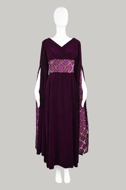 Troubadour Renaissance Inspired Velvet & Brocade Evening Gown, c. 1970 2