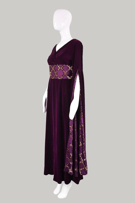 Troubadour Renaissance Inspired Velvet & Brocade Evening Gown, c. 1970 6
