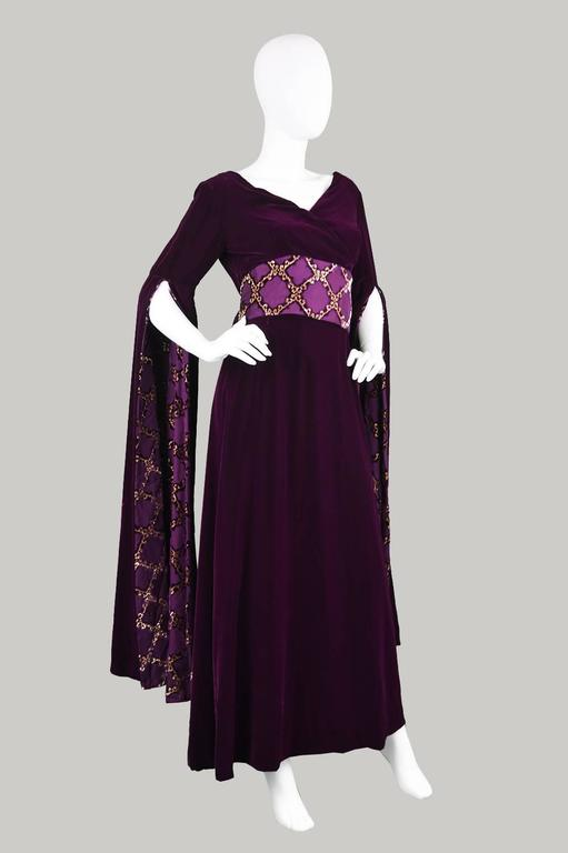 Troubadour Renaissance Inspired Velvet & Brocade Evening Gown, c. 1970 5