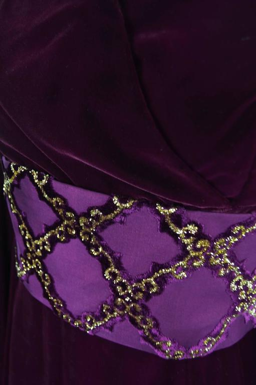 Troubadour Renaissance Inspired Velvet & Brocade Evening Gown, c. 1970 7