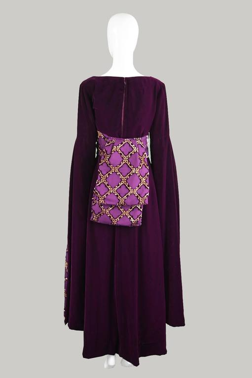 Troubadour Renaissance Inspired Velvet & Brocade Evening Gown, c. 1970 8