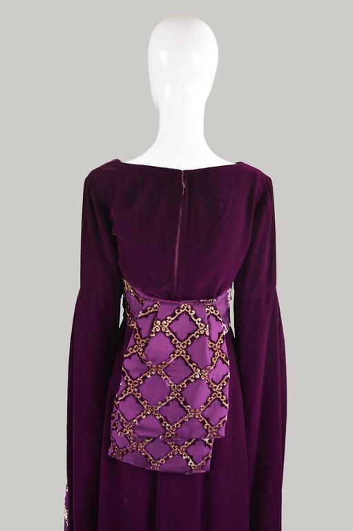 Troubadour Renaissance Inspired Velvet & Brocade Evening Gown, c. 1970 9