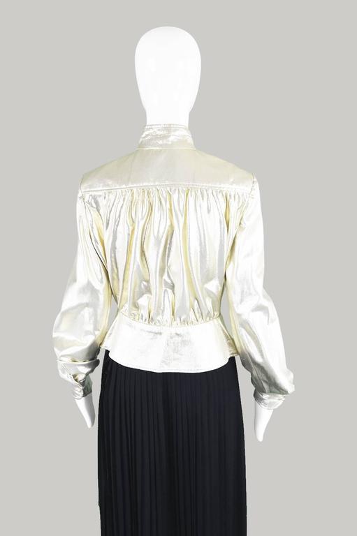 Yuki of London Metallic Pale Gold Lamé Jacket, 1970s For Sale 3