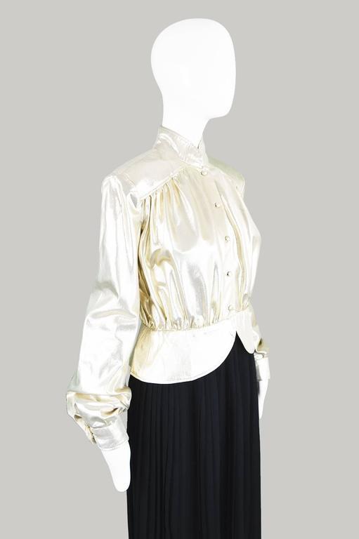 Yuki of London Metallic Pale Gold Lamé Jacket, 1970s 4