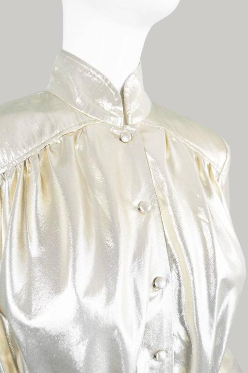 Yuki of London Metallic Pale Gold Lamé Jacket, 1970s 5