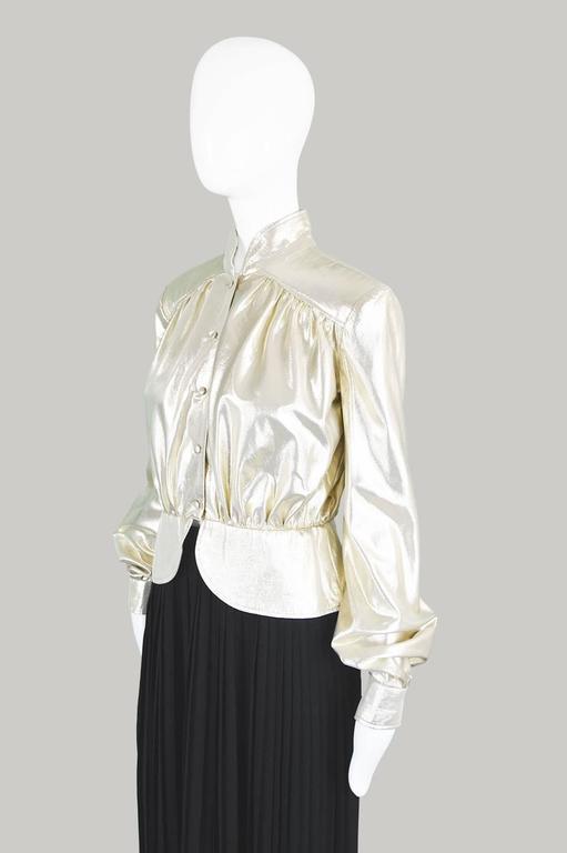 Yuki of London Metallic Pale Gold Lamé Jacket, 1970s 6