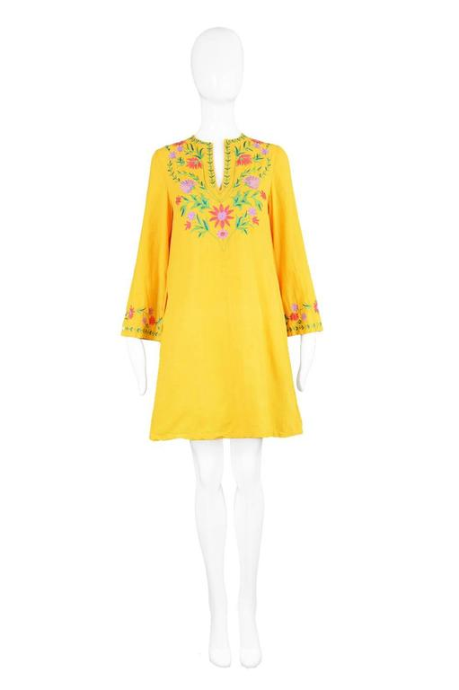Treacy Lowe Mustard Yellow Hand Embroidered Indian Cotton Mini Dress, 1970s 2