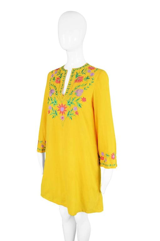 Treacy Lowe Mustard Yellow Hand Embroidered Indian Cotton Mini Dress, 1970s For Sale 1