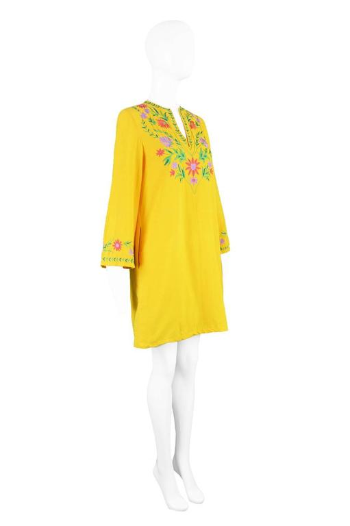 Treacy Lowe Mustard Yellow Hand Embroidered Indian Cotton Mini Dress, 1970s For Sale 2
