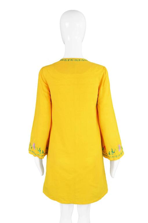 Treacy Lowe Mustard Yellow Hand Embroidered Indian Cotton Mini Dress, 1970s For Sale 5
